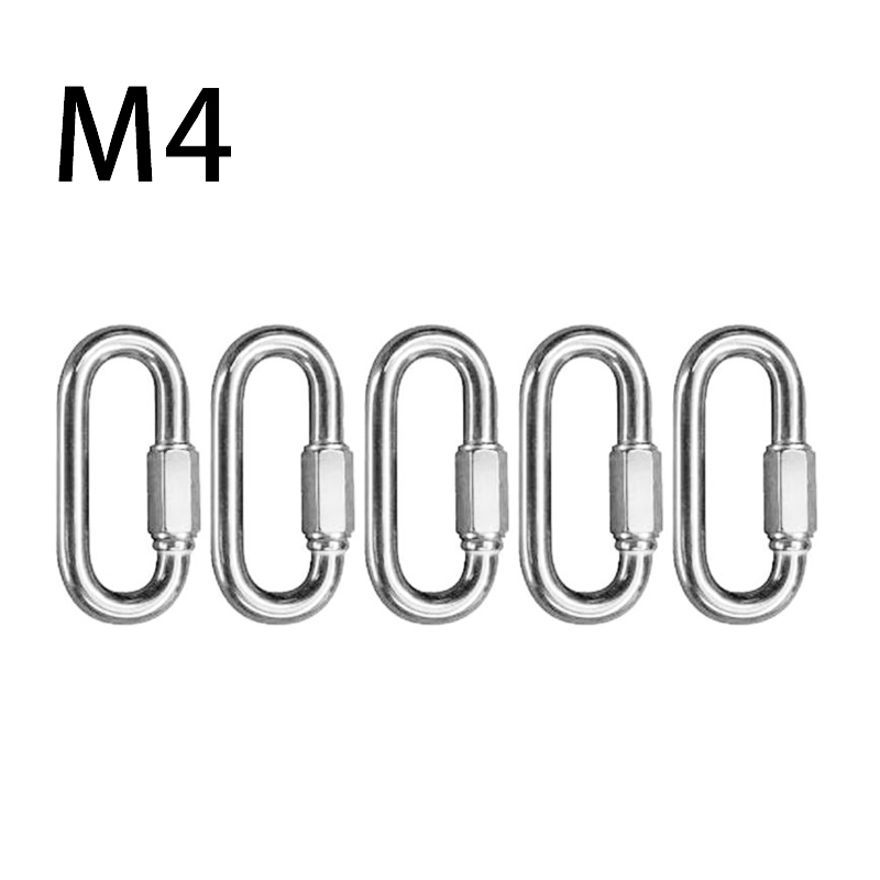5pcs M3/4/5 Carabiner Quick Link Strap Connector Steel Repair Shackle D Shape Rigging Carabiner Rings Camping Fishing Tool