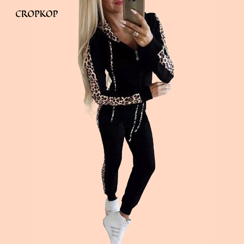Women Two Piece Set Sexy Leopard Patchwork Zipper Long Sleeve 2019 Autumn Winter Casual Trousers Suit Warm Fall Leisure Outfit