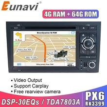 EUNAVI-Odtwarzacz multimedialny i nawigacja do samochodu 4G 2DIN 64GB stereo z wejściem CD DVD z GPS do Audi A4 S4 2002-2008 tanie tanio CN (pochodzenie) Double Din Rohs 4*45w 256G System operacyjny Android 10 0 Dvd-r rw Dvd-ram Video cd Jpeg 1024*600 Bluetooth