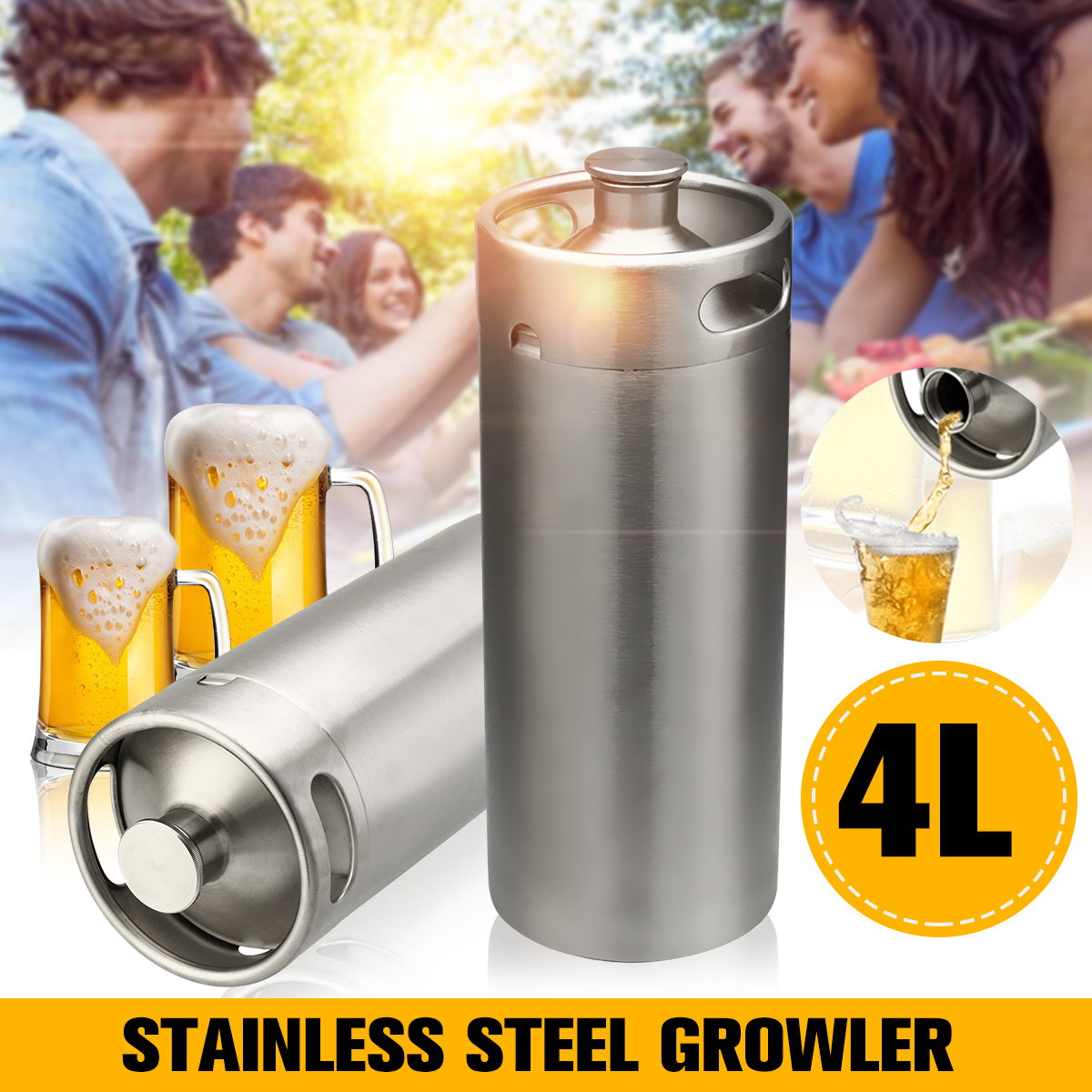 4L Mini fût de bière en acier inoxydable pressurisé cultivler pour système de distributeur de bière artisanale