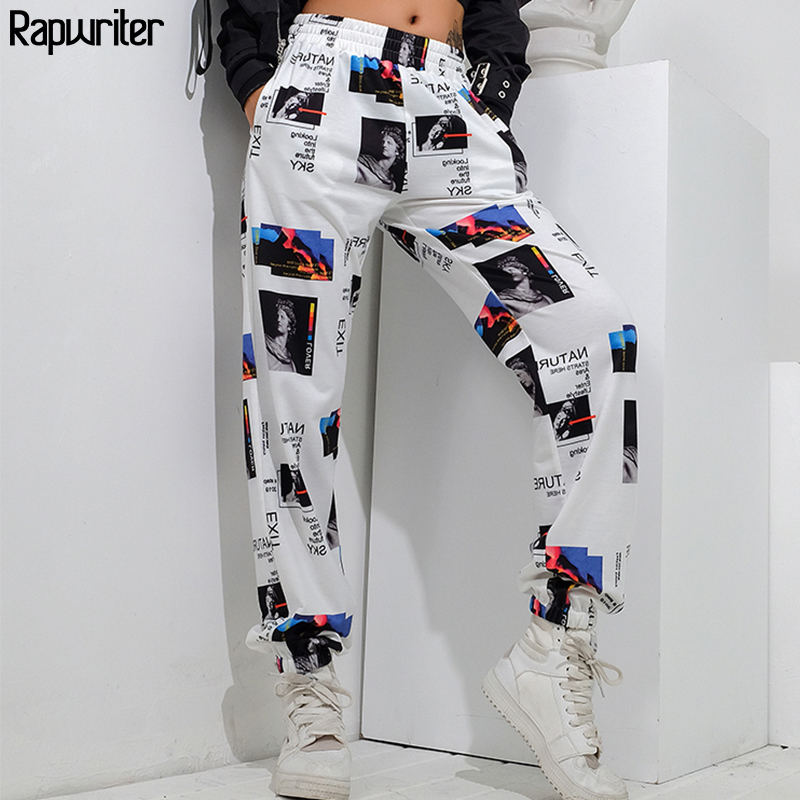Rapwriter Fashion Printed Baggy Joggers Sweatpants Women 2020 Harajuku Stretch High Waist Trousers Streetwear Pants Girl Spring