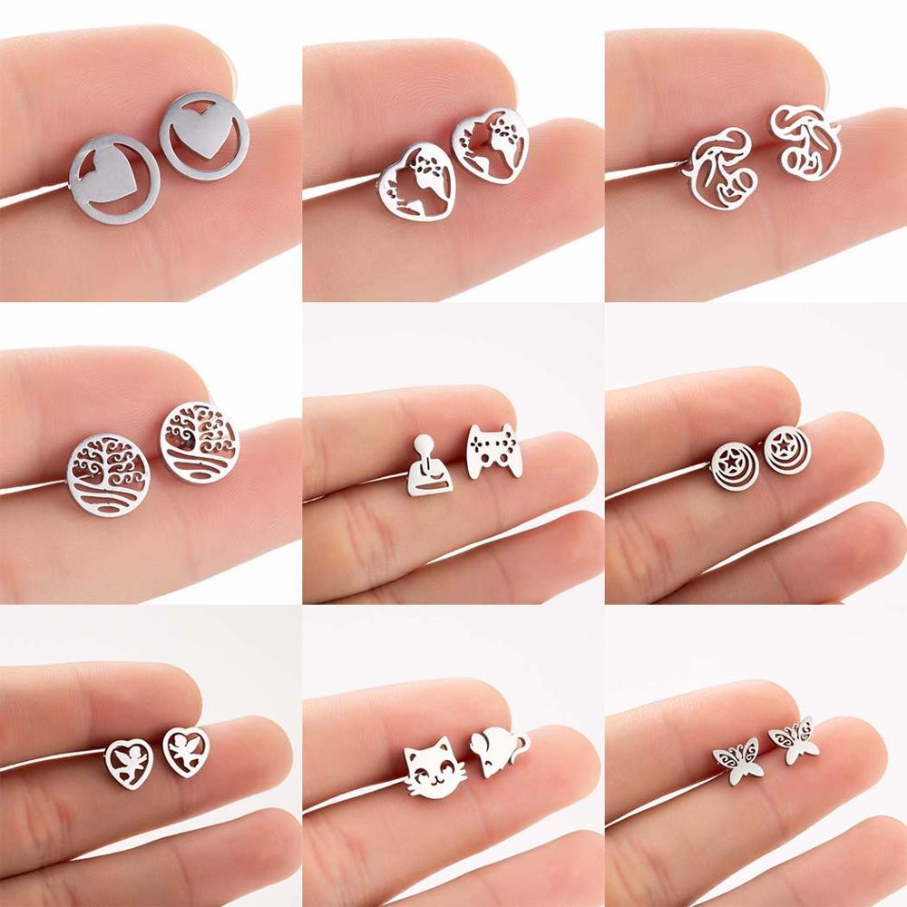 FENGLI Geometric Moon Round Stainless Steel Black Earrings Women Minimalist Jewelry Small Mouse Stud Earrings Birthday Gifts