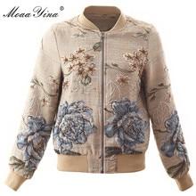 MoaaYina haute qualité mode veste veste automne femmes fleurs perles élégant veste courte veste