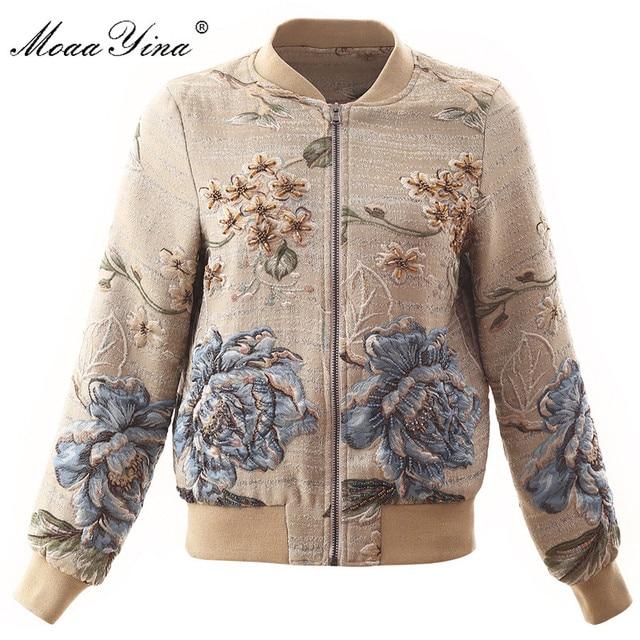 MoaaYina yüksek kalite moda ceket ceket sonbahar kadın çiçek boncuk zarif kısa ceket ceket