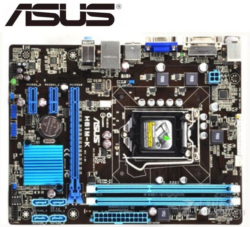 ASUS H61M-K  Desktop Motherboard For Intel  LGA 1155 DDR3 16GB USB2.0 SATA II H61 Used Mainboard PC BOARDS On Sales.