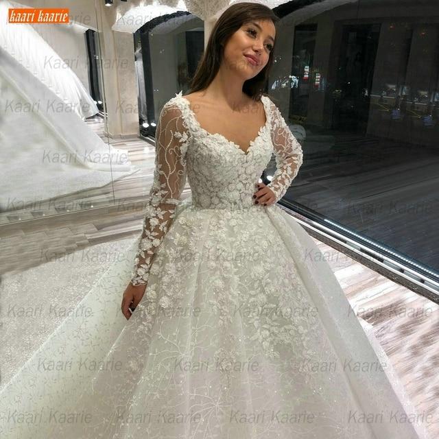 Luxury Lace Wedding Dresses Long Sleeves 2021 robe de mariage Beaded Appliqued Ball Gown Bridal Dresses Arabian vestido de noiva 4
