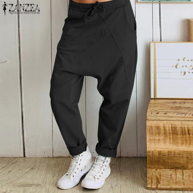 Women Loose Drop-crotch Pants 2019 ZANZEA Female Oversized Casual Elastic Waist Trousers Patchwork Streetwear Long Pantalones