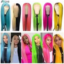 Парик Allove из розовых человеческих волос, цветные прямые парики из человеческих волос на сетке спереди для женщин, 99J бордовый парик на сетке ...