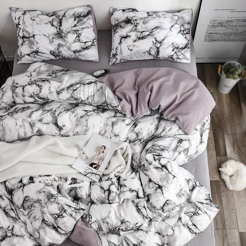 White Marble Pattern Bedding Sets Duvet Cover Set 2 3pcs Single Queen King Size Bed Linen