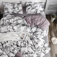 Padrão de mármore branco conjuntos de cama capa edredão conjunto 2/3 pçs única rainha king size linho colcha capa (sem folha sem enchimento)