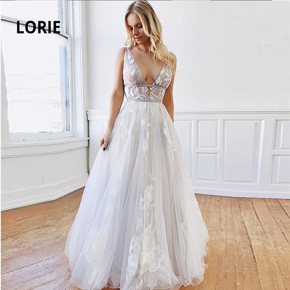 LORIE Deep V-neck Lace Appliqued Boho Wedding Dresses Vintage Princess Beach Bridal Gowns Country Sleeveless Backless Mariage