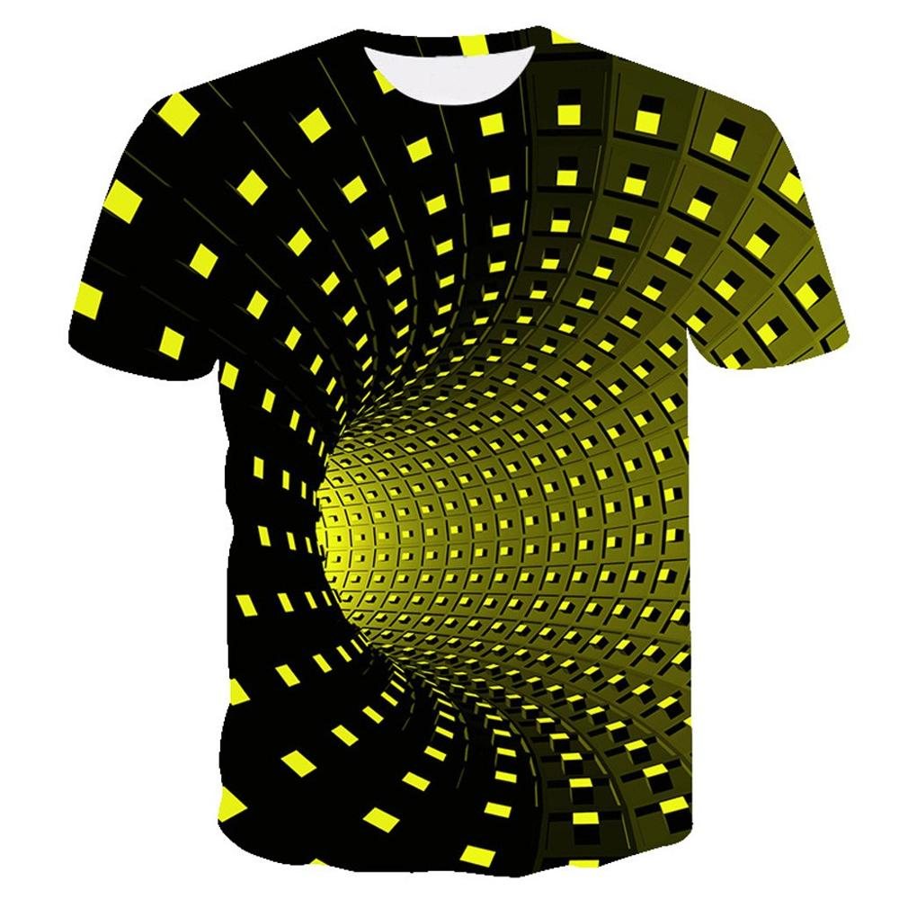 3D Tshirts Black And Yellow Psychedelic Printed T-shirt Men Summer Hip Hop Funny Checked Tunnel Print Tee Shirt Men Women Tops