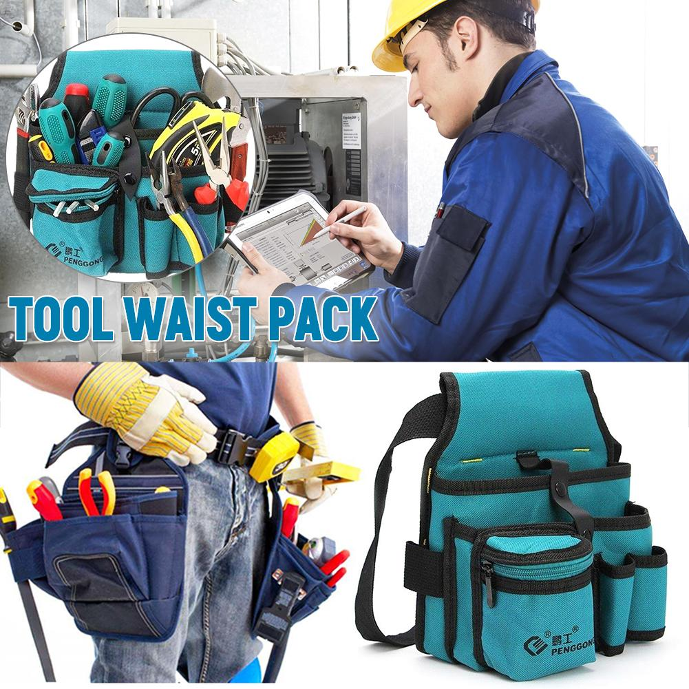 Multi-pockets Canvas Tool Bag Waist Pocket Case Electrician Tool Bag Oganizer Carrying Pouch Tools Bag Belt Waist Hanging Bags