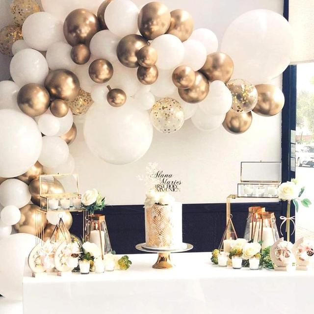 117pcs Balloon Garland Arch Kit White Gold Balloons Wedding Birthday Bachelorette Anniversary Party Backdrop DIY Decorations 6