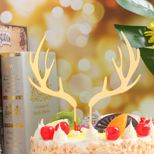 Topper Gold Party-Cake-Decorations Deer Merry-Christmas Acrylic Cake Elk Sliver for Xmas