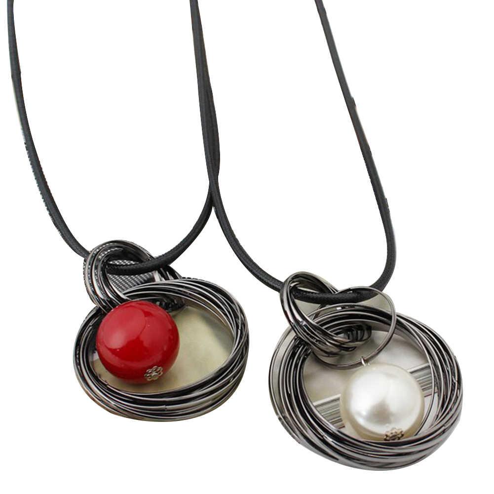 Moda círculo rojo colgante de perlas de imitación cadena larga Mujer collar joyería Collar para mujer decoración de ropa cuello de cadena larga