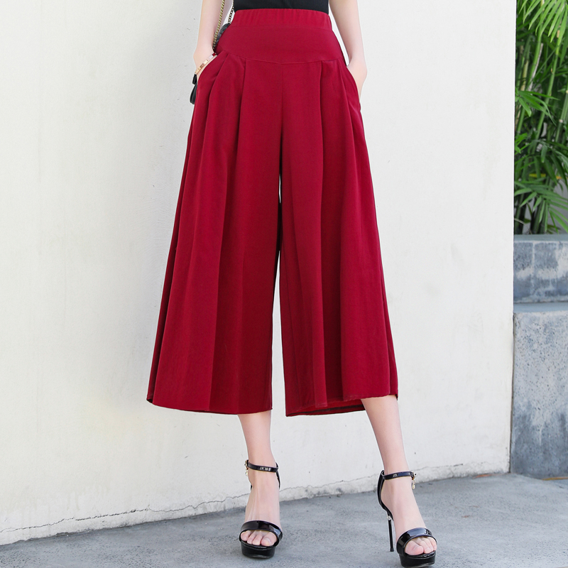 New Plus Size Solid Color Wide Leg Pants Women Summer Casual Loose Trousers Ankle Length High Waist Summer Pants Women Trousers