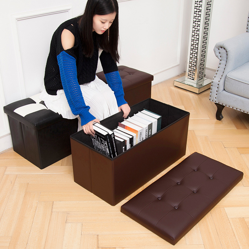 Manufacturers Direct Selling Pu Leather Belt Buttons Storage Stool Box Adult Folding Multi-functional Stool Wholesale