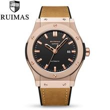 цена Ruimas Mens Watches Top Brand Leather Luxury Automatic Mechanical  Watch Men Sport Wristwatch  Reloj Hombre онлайн в 2017 году