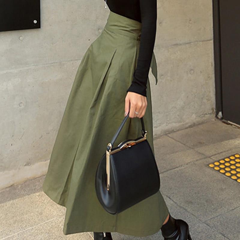 Clearance SaleShintimes Slim Skirts Big-Swing Autumn High-Waist Korean Fashion Womens Wild Solid Bow