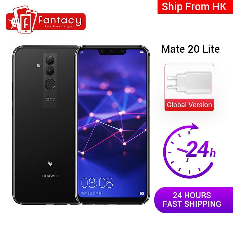 Global Version Huawei Mate 20 Lite 4G 64G 6.3 Inch Mobile Phone EU Charger NFC 24MP Front Camera F/2.0 Aperture Kirin 710