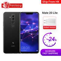 Wersja globalna Huawei Mate 20 Lite 4G 64G 6.3 cal telefon komórkowy ładowarka eu NFC 24MP kamera przednia F/2.0 przysłony Kirin 710