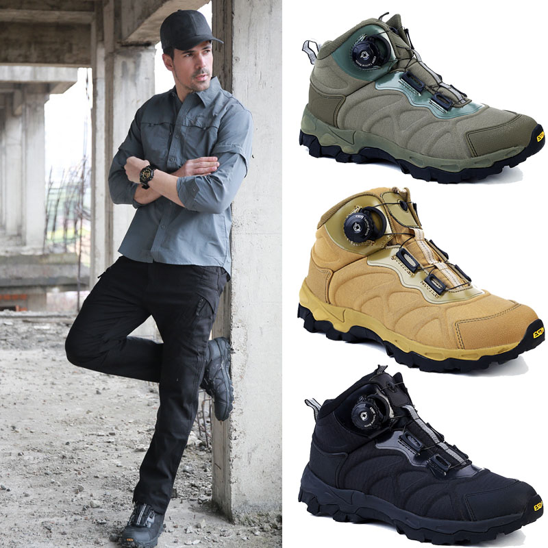 Outdoor Military Boots Hiking Tactical Shoes Men Non slip Breathable Hunting Shoes Waterproof Climbing Trekking Sneakers