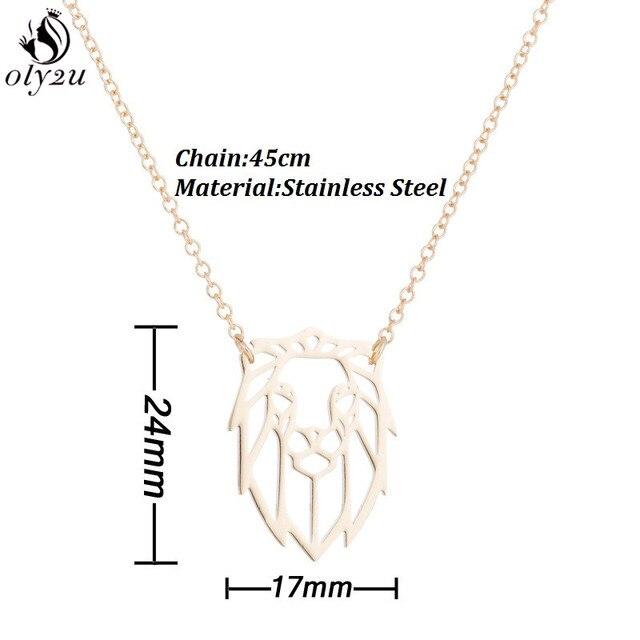 Oly2u Hiphop collier Animal de roche en acier inoxydable tête de Lion pendentif colliers géométrique bijoux accessoires hommes cadeau de fête