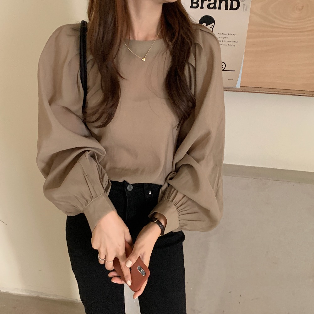 H1892653fe0c54afb964b53a1fb7fd38c5 - Spring / Autumn O-Neck Long Puff Sleeves One-Button Cuffs Loose Solid Blouse