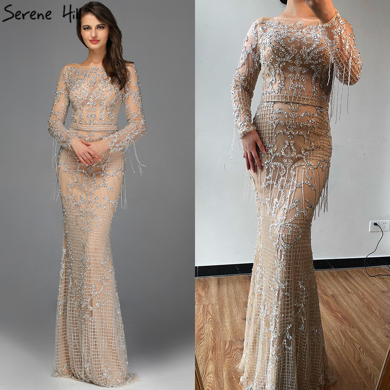 Image 2 - Dubai Luxury Long Sleeve Sparkle Tassels Evening Dresses 2020 Sequined Beading Sexy Robe De Soiree Plus Size BLA60707Evening Dresses   -