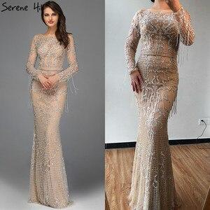 Image 2 - Dubai luxo manga longa brilho borlas vestidos de noite 2020 lantejoulas beading sexy robe de soiree plus size bla60707