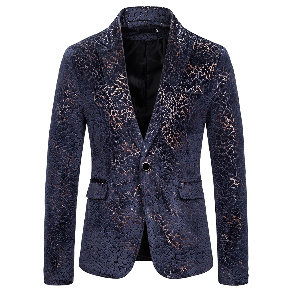 CYSINCOS Prom Blazer Shinny Yarn Wine Red Blue Black Contrast Collar Dress Dinner Men Blazer Homme Slim Fit Suit Coat Jacket