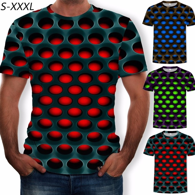 ZOGAA Summer T-shirt Mens Geometric 3D Three-dimensional Pattern Digital Printing T-shirt Male Short Sleeve Slim Fit Tops Tees