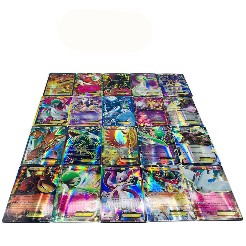 100pcs | 80 EX + 20 Mega  Game Collection Cards For Funs Children Gift English   Pikachued Toys