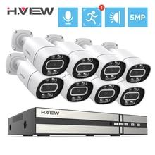 H.View 8Ch 5Mp telecamere di sicurezza Cctv sistema Kit di videosorveglianza domestica Ai Face Detection Audio telecamera Ip esterna Poe Nvr Set