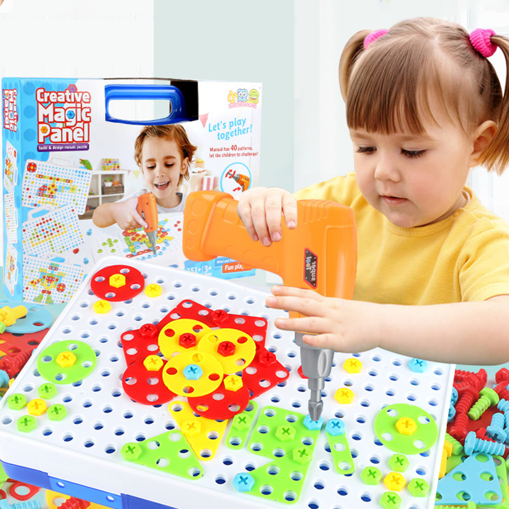 Puzzles For Children Kids Drill Toys Fun Assembled Building Play Toy Creative Educational Game Electric Drill Screws Puzzle