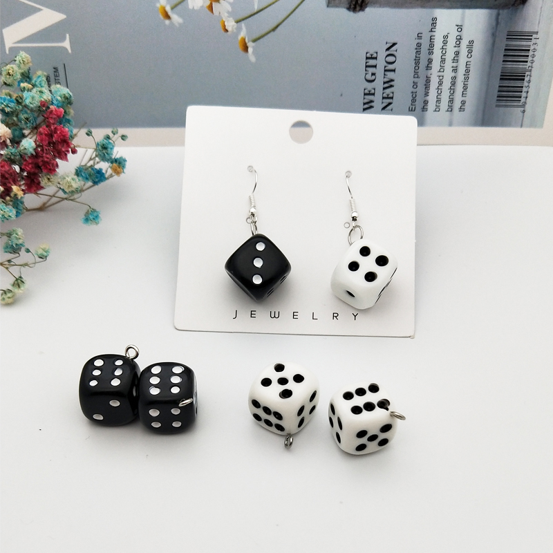 10pcs/pack 15mm Dice Resin Charms 3D Dice Pendants DIY Craft Fit for Bracelet Earring Key Chains Jewelry DIY Finding Handmade 4