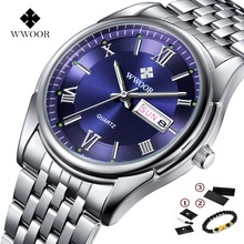 Original WWOOR Watch Luminous Luxury Brand Men Shockproof Waterproof Clock Stainless Steel Wristwatches for