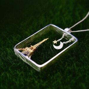 Image 2 - לוטוס כיף אמיתי 925 כסף סטרלינג בעבודת יד תכשיטים אייפל מגדל עיצוב תליון ללא שרשרת Acessorios עבור נשים