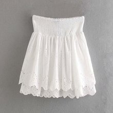 Summer Mini White Cotton skirts Womens Pleated Hollow Out  Embroider Floral Double Layer A-line Sweet Lace Skirt sweet white hollow out floral lace anklet for women