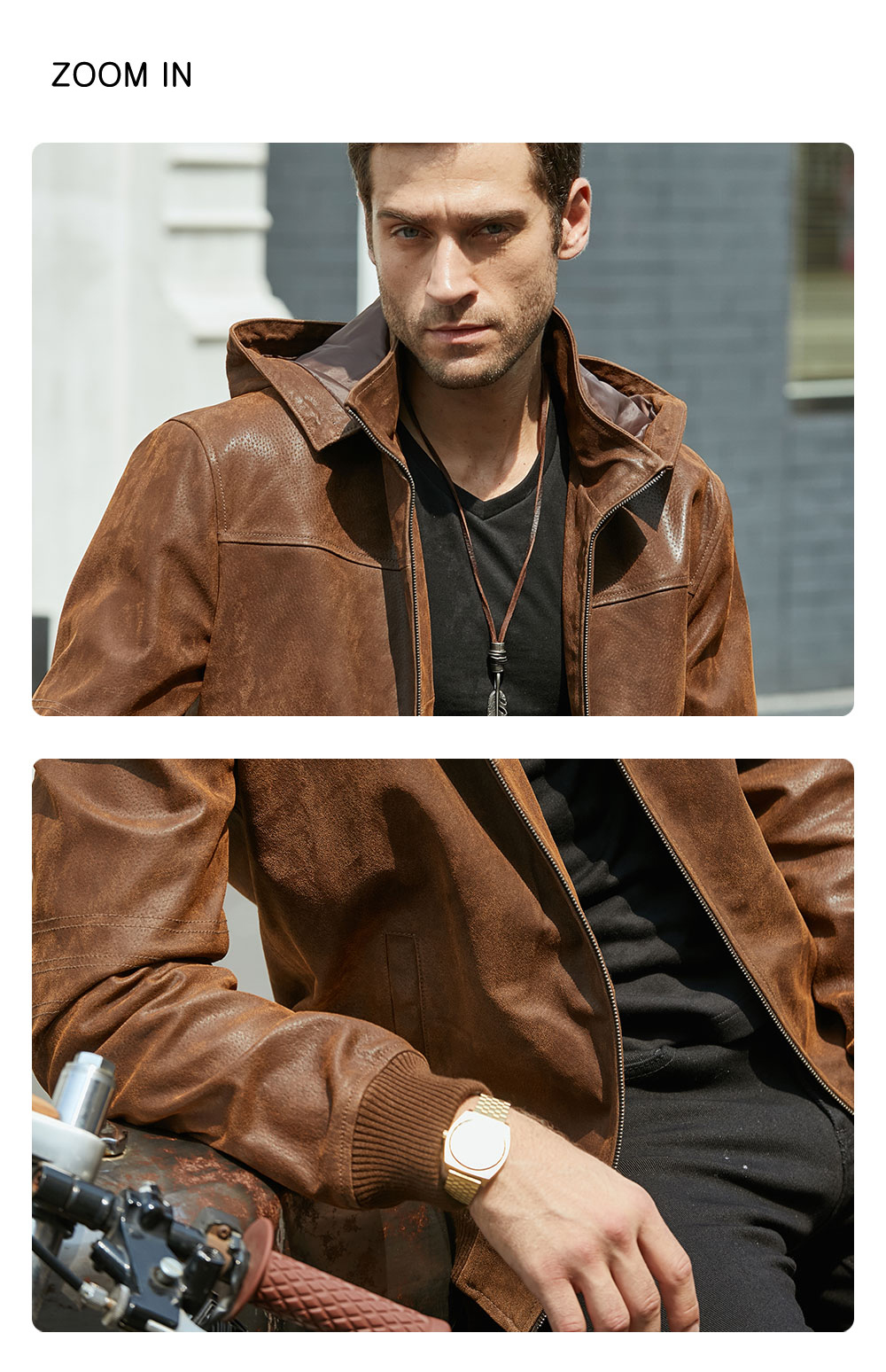 H1892f1abc57d4edeb0eb36dcbc3514fd2 New Men's Winter Jacket Made Of Genuine Pigskin Leather With A Hood, Pigskin Motorcycle Jacket, Natural Leather Jacket