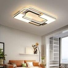 Список, квадратные современные светодиодные потолочные лампы для гостиной, спальни, кабинета, дома, помещения, акриловые, черные, белые, потолочные лампы, приспособление