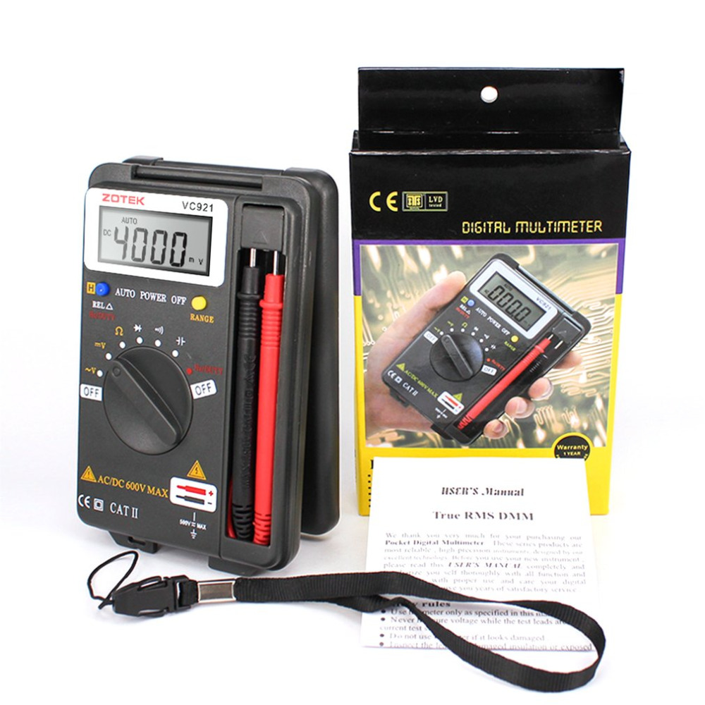 VC921 Multimeter Pocket Tester Portable Digital Autoranging 4000 Counts AC DC Voltmeter Ohm Capacitance Meter Mini