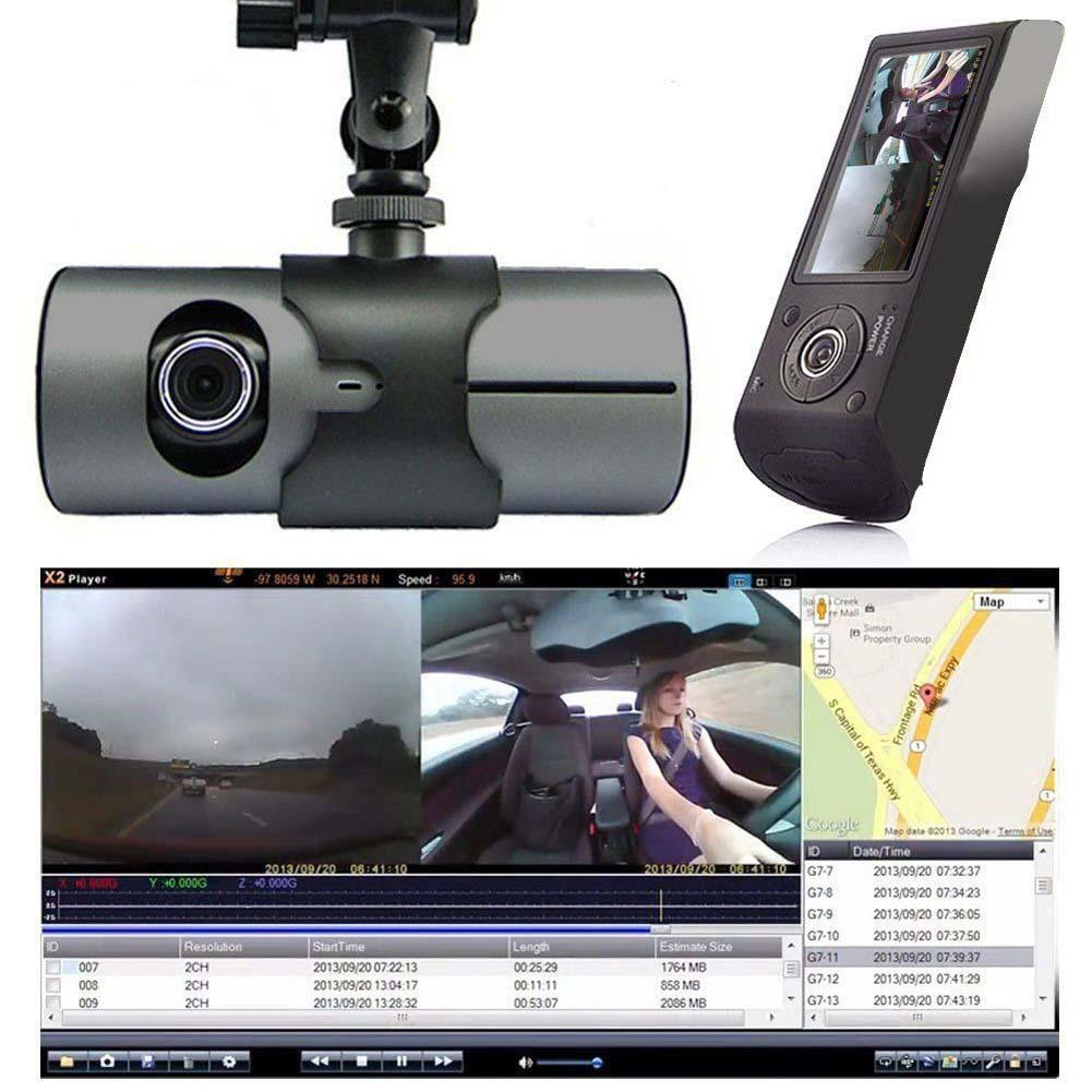 Dual Camera Car Vehicle DVR Recorder Dash HD Screen GPS & G-Sensor Two Lens Car Recorder Video Recorder For Car