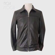 Novmoop – Veste en cuir de vachette véritable pour homme, style safari, coupe soignée, vintage, sensation chic, LT3450