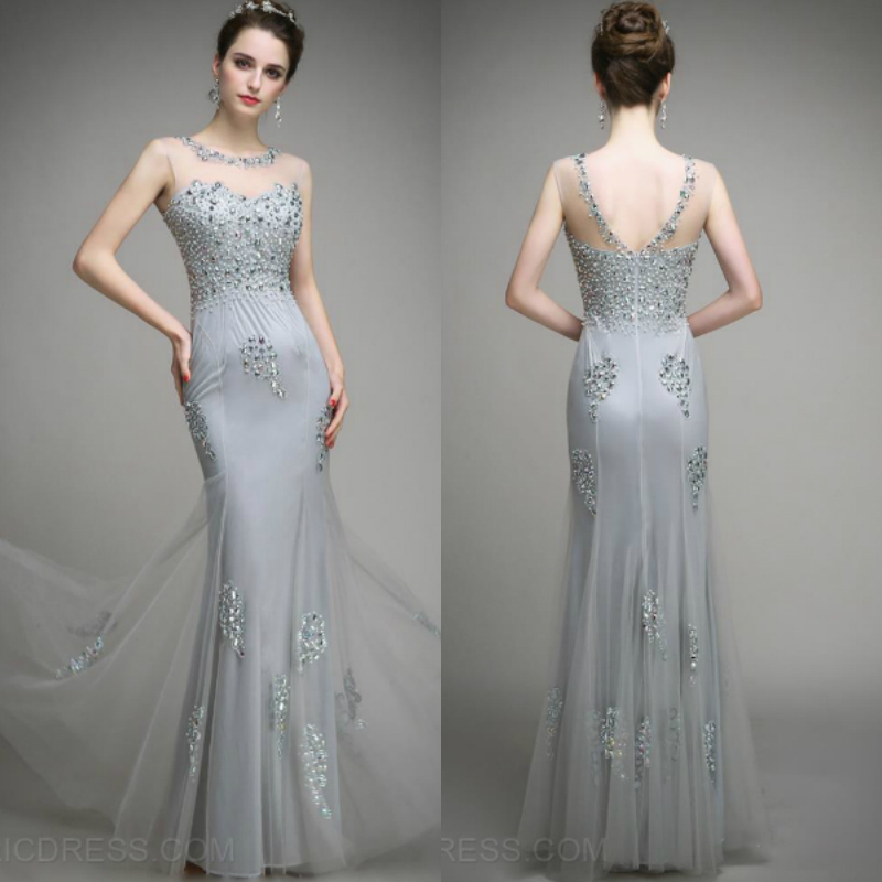 2018 Robe De Soiree Courte Sexy Saree Michael Korns Beading Crystal For Sale Silver Tulle Evening Mother Of The Bride Dress