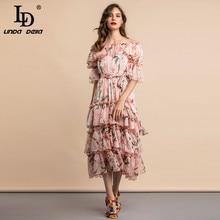 LD LINDA DELLA Summer Casual Holiday Dress abito da festa per le vacanze Midi con cintura a volant a strati con stampa floreale a strati