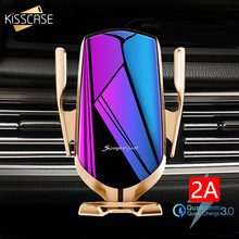 KISSCASS הידוק אוטומטי רכב אלחוטי מטען עבור iPhone 12 11 Samsung S20 Xiaomi 10 אינפרא אדום חיישן מכונית טלפון בעל מטען