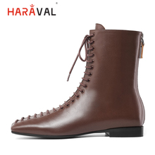 HARAVAL Luxury Woman Winter Ankle Boots Genuine Leather Square Toe Low Heel Shoes Black Brown Lace-up Chelsea B249