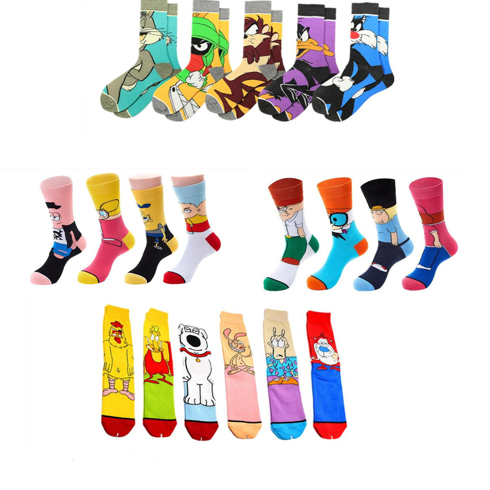 Personalized Anime Print Socks Fashion Funny Novelty Cartoon Men Women Sock Comfort Happy Colorful Stitching Cotton Crew Socks